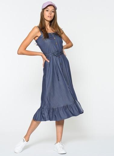 Loves You Kuşaklı Tensel Denim Elbise Lacivert